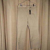 Nwt New Express Producer Pants 32 X 30 Tan Flat Front Stretch Cotton Photo