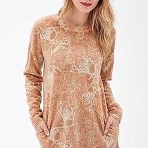 Nwt New Forever 21 Contemporary Oversized Rose Print Sweater Blush Cream Large L Photo
