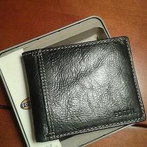 Nwt New Fossil Bradley Bifold Leather Wallet Black With Fossil Gift Tin Photo