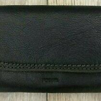 Nwt New Fossil Cleo Clutch Black Leather  Wallet 88.00 Photo
