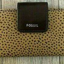 Nwt New  Fossil Madison Clutch Cheetah Wallet Brown 58.00 Photo