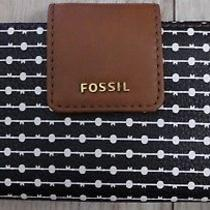 Nwt New Fossil Madison Clutch Wallet Black / White  60.00 Photo