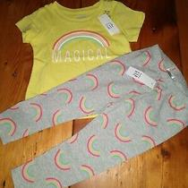 Nwt New Gap Kids 2 Pc Rainbow Magical Outfit 18/24 Months Leggings Tee Photo