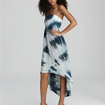 Nwt New Hard Tail Summer Beach Blue Tie Dye High Low Maxi Strapless Dress M Photo