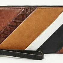 Nwt New  Rfid Fossil Jori Patchwork Clutch Wristlet Leather  Wallet  98.00 Photo