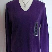 Nwt New Sears Classic Elements Purple Beaded Cable Sweater M 10-12 Photo