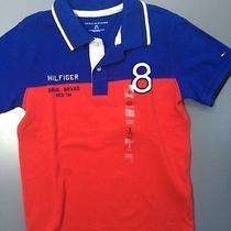 Nwt New Toddler Boys Tommy Hilfiger Polo Shirt Size Small 6-7 Years Red Blue Photo