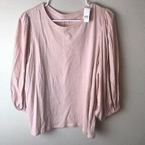 Nwt New Women's Loft Bubble Sleeve Top Pink Blush Blouse Size Large Photo