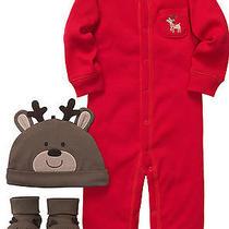 Nwt Newborn Carters Jumpsuit Hat Booties 3pc Set Santa Claus Christmas Boy Photo