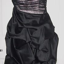 Nwt Nicole by Nicole Miller Platinum Strapless Black Formal Short Dress Sz 6 Photo