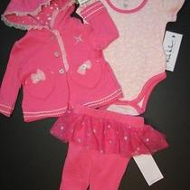 Nwt Nicole Miller 3pc Pink Outfit Set Hoodie Pants & Bodysuit Baby Girl 3-6m Photo