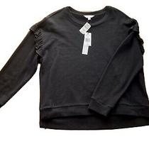 Nwt Nicole Miller Black Sweatshirt Large Ruffled Shoulders Photo