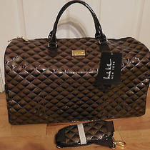 Nwt Nicole Miller Quilt Taupe Weekender Travel Overnight Luggage Travel Bag Tote Photo
