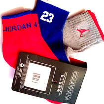 Nwt  Nike Air Jordan Boys 3pr Quarter Socks Sz 7-9 /3y-5y Haddad Gray/blue/red Photo