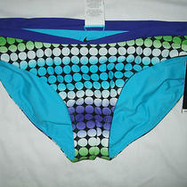 Nwt Nike Aqua Multicolor Polks Dots Reversible Bikini Bottom Swim Wear Size 14 Photo