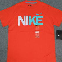 Nwt Nike Boys M Orange/aqua/white Logo Shirt M 10-12 Photo