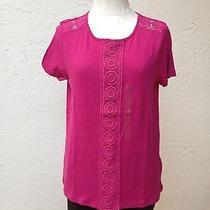 Nwt Nine West Crochet Elements Front Shirt/blouse Sz L  Photo