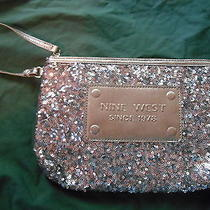 Nwt Nine West Sequin Bag Wristlet Silver. Sequined Clutch. Photo
