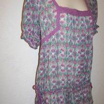 Nwt Nine West Womens Purple/aqua Tunic Peasant Top Sz M Vintage America 69.50 Photo