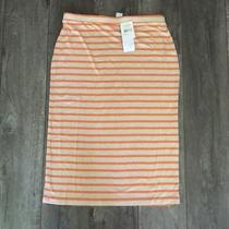 Nwt Nordstrom Design History Stretchy Orange and Tan Striped Pencil Skirt M Photo