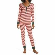 Nwt Nordstrom Lingerie Sleepyhead Thermal Pajamas Red Bloom Even Stripe 59 Xs Photo