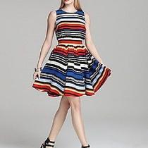 Nwt Nwt Vince Camuto Beautiful Colorful Bright Banded Waist Stripe Dress( Sz4)  Photo