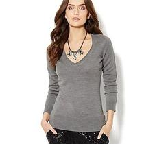 Nwt Ny and Co Waverly v-Neck Sweater - Solid Rollneck Grey Sz Small  Photo
