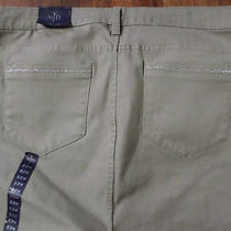 Nwtnydjbeige Crop/capri Jeansrhinestone Bling Pockets/slit Cuffwomens Sz 22w Photo