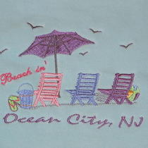 Nwt Ocean City Nj Sweatshirt S Embroidered Beach Chair Umbrella Aqua Mint Blue  Photo
