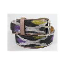 Nwt of Two Minds Purple Black Yellow Canvas Leather Anisa Belt Sz P S 83 Photo