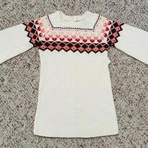 Nwt Old Navy Girls Ivory Long Balloon Sleeve Dress W/ Hearts Pattern Sz 12-18m Photo
