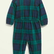 Nwt Old Navy Long-Sleeve Green Blue Plaid Jumpsuit Romper Coverall 6-12 Months Photo