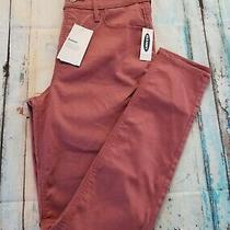 Nwt Old Navy Rockstar Super Skinny Sateen Pants Women's Size 8 Blush Wine Photo