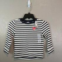 Nwt Old Navy Toddler Girls Size 4t Blue Ivory Striped Heart Long Sleeve Top Photo