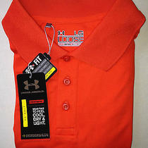 Nwt Orange Under Armour Loose Heat Gear Golf Country Club Polo Shirt Large Lg Photo