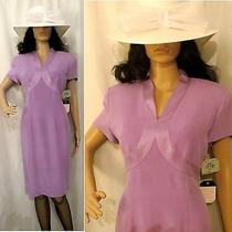 Nwt Orig. 140 Adrianna Papell Purple 100% Silk Dress Size 12 Photo