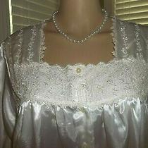 Nwt Oscar De La Renta Lingerie Night Gown White Satin W/ Baroque Lace Trim   L  Photo