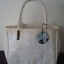 Nwt Oscar De La Renta Purse Handbag Tote Canvas  Large Size Off White Color  Photo