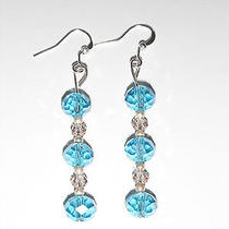 Nwt Pair of Womens Light Blue Dangle Earring Set W/ Swarovski Crystals  Photo