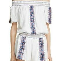 Nwt Parker White Off the Shoulder Embroidered Romper Size S Ret 242 Flaw Photo
