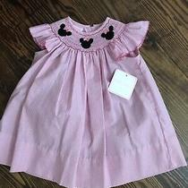Nwt Petit Bebe Disney Minnie Mickey Mouse Pink Gingham Smock Dress Size 9 Months Photo