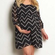 Nwt Pink Blush Maternity Dress Black Beige Chevron Print 2xl Photo