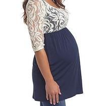 Nwt Pink Blush Maternity Lace Sleeve Tunic Top Small S Navy Babydoll New Photo