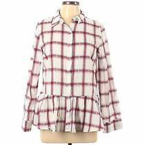 Nwt Pink Blush Women White Long Sleeve Button-Down Shirt M Photo