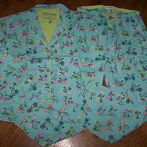 Nwt Pj Salvage Aqua Blue Pajama Top/pants Bag Set Pink/brown Bikes M Cotton Azul Photo