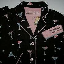 Nwt Pj Salvage Black Flannel Nap Time Is My Happy Hour Pajama Set Xs Martinis Photo