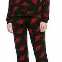 Nwt Pj Salvage Black/red True Love Roses Floral Sweater-Knit Pajama/lounge Set M Photo