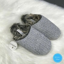 Nwt Pj Salvage Cable Knit Faux Fur Slippers - Size M/l - Wm 8-11 Cozy Photo