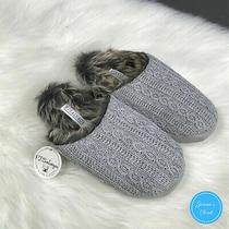 Nwt Pj Salvage Cable Knit Faux Fur Slippers - Size M/l - Wm 8-11 Cozy Photo