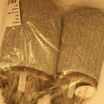 Nwt Pj Salvage Faux Trim Cable Slippers Hgrey M/l Photo
